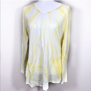 Soft Surroundings yellow & white tie dye top